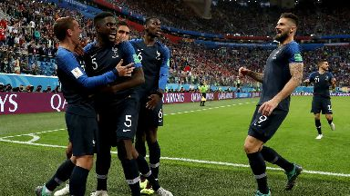 Samuel Umtiti (second from left) celebrates after scoring France's winner.