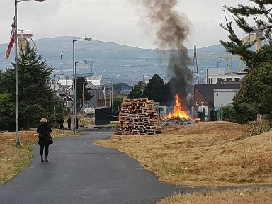 A smoking bonfire in east Belfast