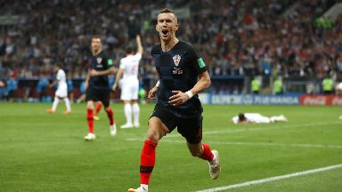 Ivan Perisic celebrates after scoring Croatia's equaliser.