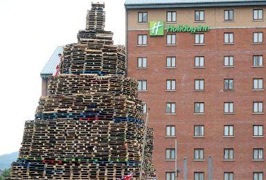 A bonfire outside a Holiday Inn in Belfast