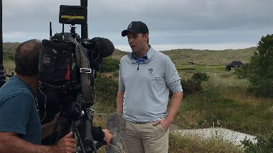 Eric Trump played at Menie on Thursday.
