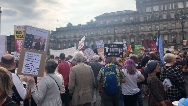 Campaigners gather in Glasgow's George Square.