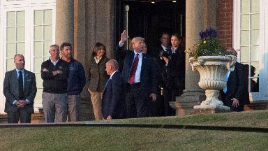 Donald Trump arrives at Turnberry.