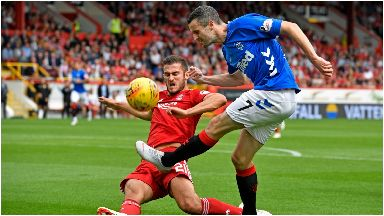 Clash: Aberdeen and Rangers played out a 1-1 draw.