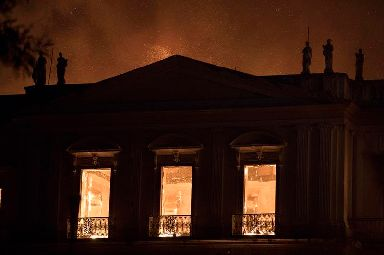 Fire burns inside the 200-year-old National Museum of Brazil