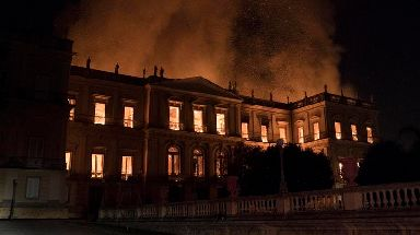Flames engulf the 200-year-old National Museum of Brazil, in Rio de Janeiro