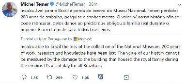 Michel Temer tweet
