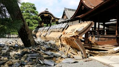 A wall of Minami Noh Butai of Nishi Honganji temple.