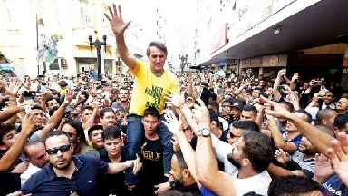 Brazilian presidential candidate Jair Bolsonaro moments before he was stabbed.
