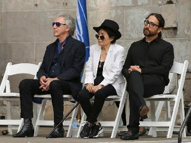 Photographer Bob Gruen, from left, Yoko Ono and Sean Lennon attended the event in New York's Central Park