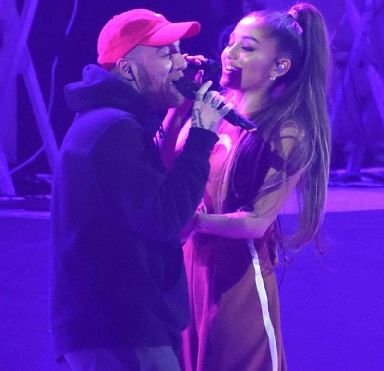 Mac Miller and Ariana Grande performing together in Paris in 2017