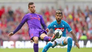 Encounter: Scotland skipper Andy Robertson (left) faced off against Elseid Hysaj in club action early this summer.