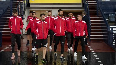 Scouting mission: Albanian players take a look around Hampden.