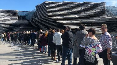 Huge queues at the V&A opening.