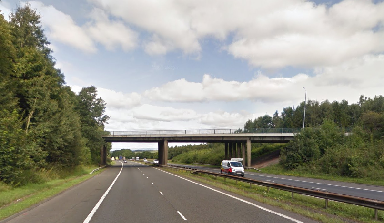 Body find: Footbridge on M74.