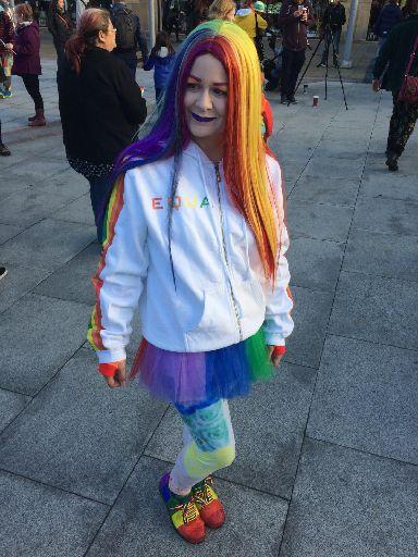 Pride: Colourful marcher.