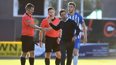 Incensed: Neil McCann fumed at the decision to award Kilmarnock a penalty.