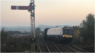 Derailed: The ScotRail train came off the tracks on Wednesday