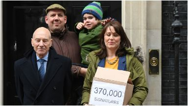 Campaign: Alfie with his parents and Sir Patrick Stewart.