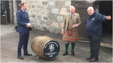 Whisky galore: Charles was presented with the special cask.