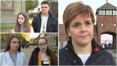 Visit: Nicola Sturgeon joined school pupils Rachel, Lewis, Elizabeth and Beth on the trip.