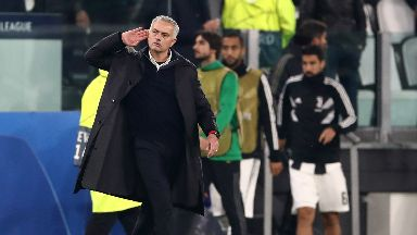Victory: Mourinho celebrates Man Utd's late win in Turin.
