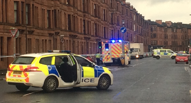 Holmlea Road: The road closed by the police.