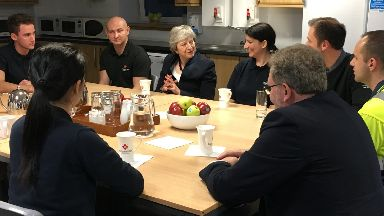 Scotland visit: Theresa May spoke to factory workers in Bridge of Weir.