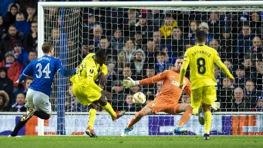 Save: Allan McGregor comes to Rangers' rescue against Villarreal.