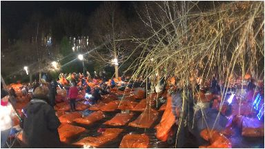 Sleep in the park: Thousands took part in charity event.