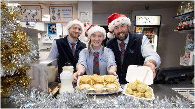 Battered: Chip shop serves Christmas dinner.