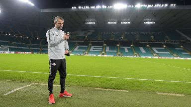 Snap: Marco Rose takes in the surroundings at Celtic Park.