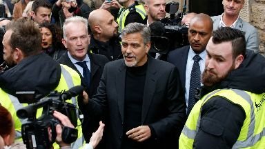 George Clooney was mobbed on the streets of Edinburgh in 2015.