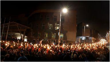 Procession: Participants pass the Scottish Parliament.