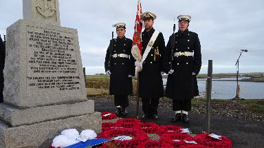 Remembrance: Wreaths were laid by the monument.