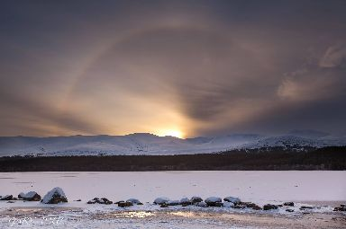 Winter sunbow at Loch Morlich.