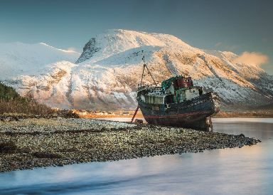 Ben Nevis and the Corpach Boat Wreck