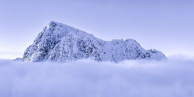 Temperature inversion surrounds Buachaille Etive Mor at Glencoe.