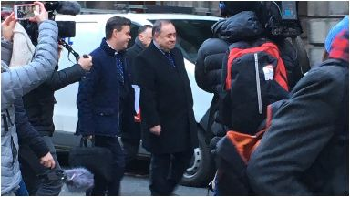 Salmond: Arriving at court.