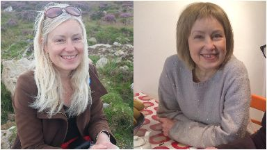 Roz Paterson: Pictured before and after cancer treatment.