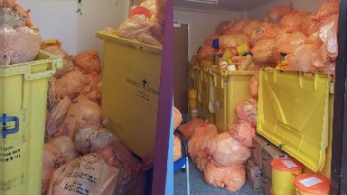 Clinical waste: Bags piled up in health centres in Coatbridge and Cumbernauld.