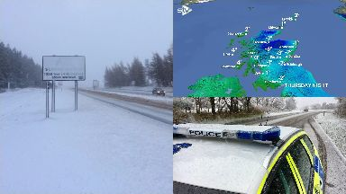 Snow: Ice will also affect parts of Scotland.