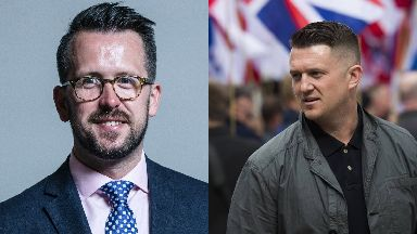 Confrontation: Tommy Robinson attempted to speak to Stewart McDonald MP at his surgery.
