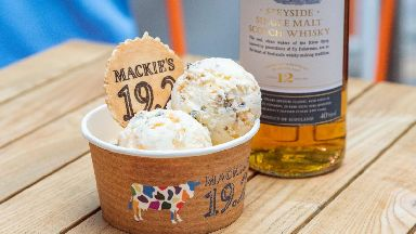 The unusual ice cream can also be served with a nip of whisky.