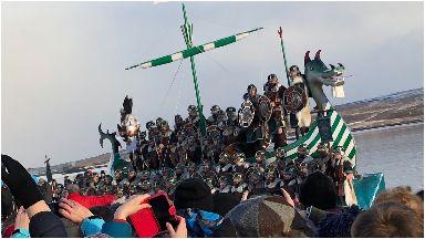 Up Helly Aa: People dress as vikings.