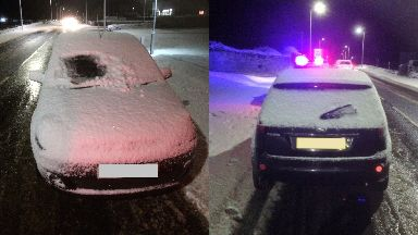 Snow: The driver was issued with a fixed penalty notice.