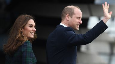 The royal couple arrive at the V&A in Dundee.