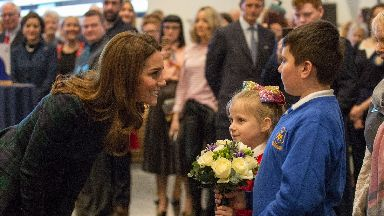 Welcome: Kate meets with schoolchildren in Dundee.