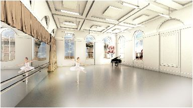 Town Hall: Artist impression of dance studio.