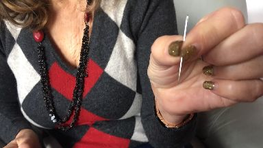 Danger: Heather Jamieson with a needle similar to the one lodged in Toby.